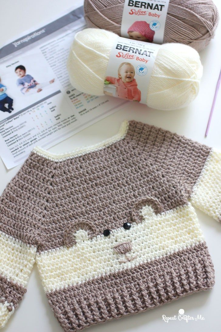 """It's so """"Beary"""" Cute!! This Baby Bear Crochet Character Sweater is hot off my hook! I couldn't resist the cuteness when I spotted this crochet pattern in the newest Yarnspirations Lookbook: Baby's Day Out. Just as its title suggests, this particular Lookbook is filled with 13 knit and crochet projects for baby! Sweet clothing items, …"""