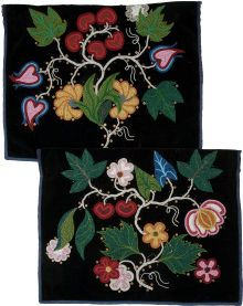 American Indian Art:  Beadwork and Quillwork, TWO CHIPPEWA BEADED CLOTH APRONS. c. 1900; bead work, native american; beading  Has a lot in common with Métis beadwork