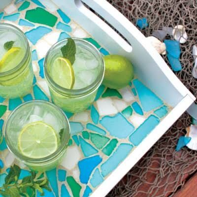 Serve guests in style with this DIY cool, ocean-hued tray.