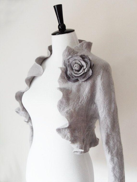 Bridal Shrug Jacket Bolero Grey Gray Silver Wedding Jacket Wool Felted with large Rose flower