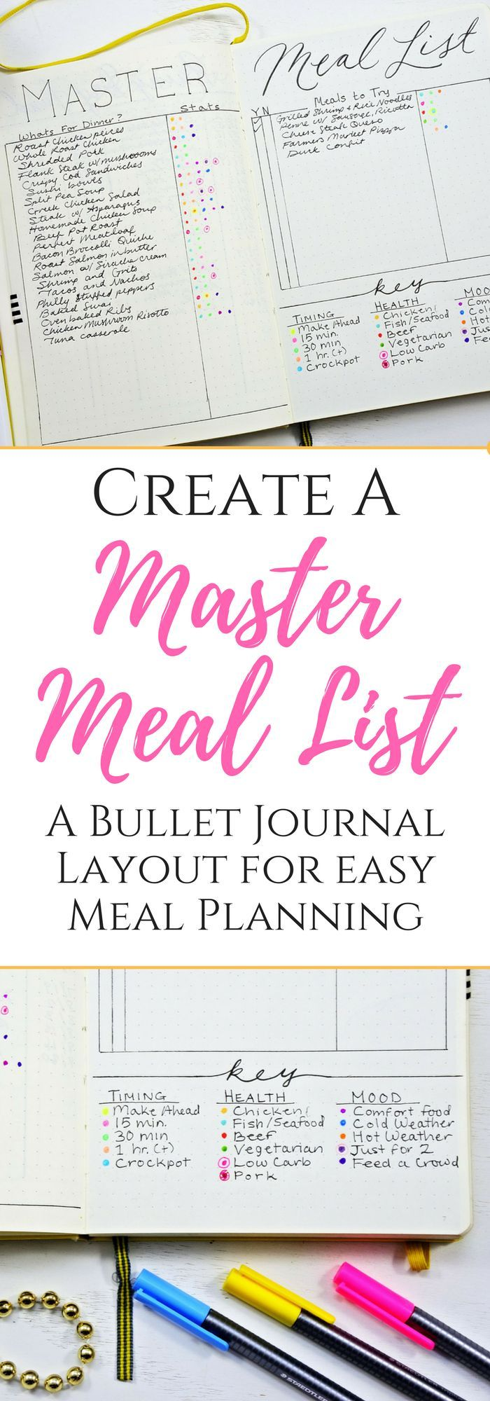 Bullet journal layout for easy meal planning!