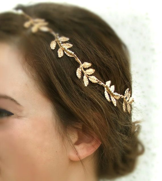 Gold Grecian headband- 2 WEEKS PROCESSING TIME      This is perfect wedding hair accessory , woodland inspired headband.  The gold leaf crown