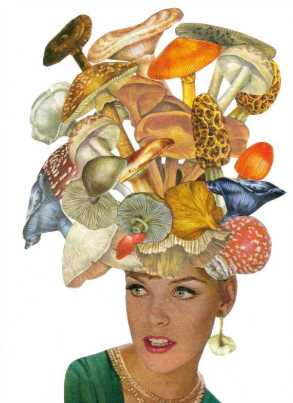 Original Collage on Paper Fungi Mushroom Art Strange Woman Surreal Wall Decor 5x7