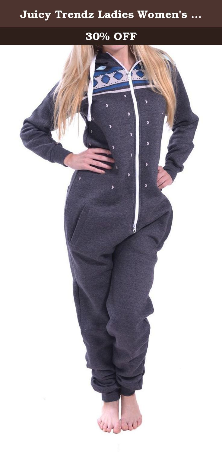 Juicy Trendz Ladies Women's printed Onesie Hoodie Jumpsuit Playsuit All In One Piece Aztec Charcoal Small. Juicy Trendz Fine Quality and Fashionable Onesie. Available in all Colors & Sizes. Suitable for Casual Wear and Nightwear. Full front Zip fastening. Soft and Warm material with Elasticated Cuffs.