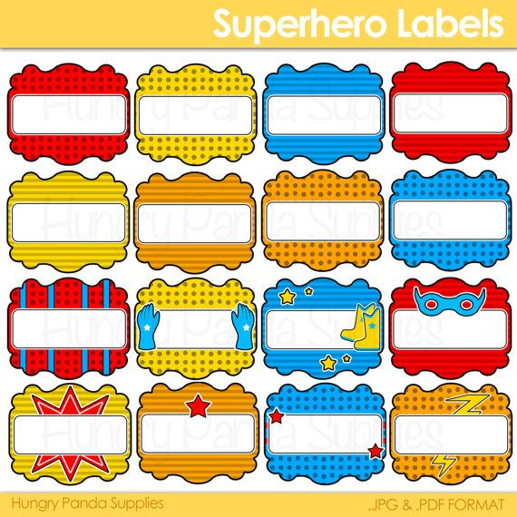 Superhero Party Labels Printable Candy Buffet Labels