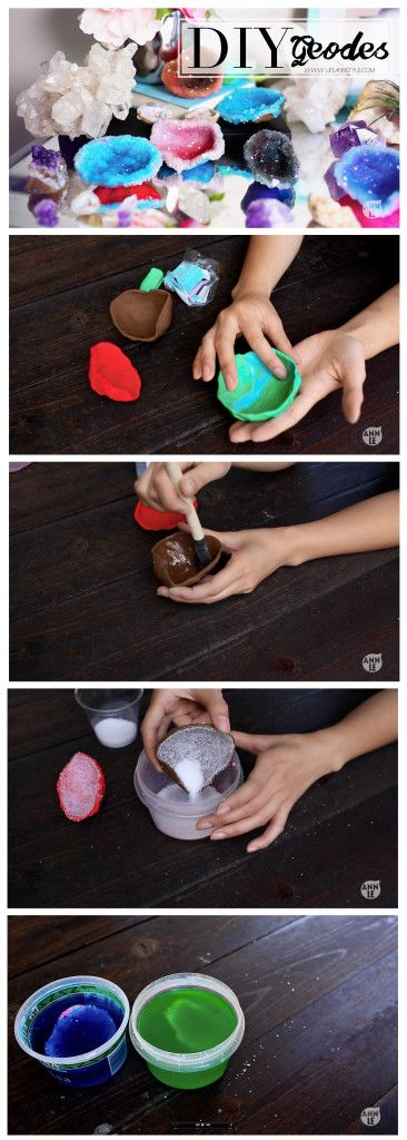 This sparkly geode project uses polymer clay to make the casing of a geode. This sort of DIY crystal growing is always fun – and you should try it!
