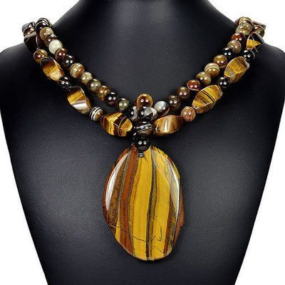 """Natural Tiger's Eye & Brown Botswana Agate 21"""" Pendant Necklace Handmade Jewelry"""