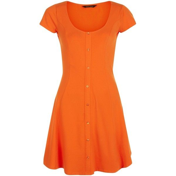 New Look Bright Orange Button Front Skater Dress ($21) ❤ liked on Polyvore featuring dresses, spicy orange, button front dress, skater dress, bright colored dresses, bright dresses and orange dress