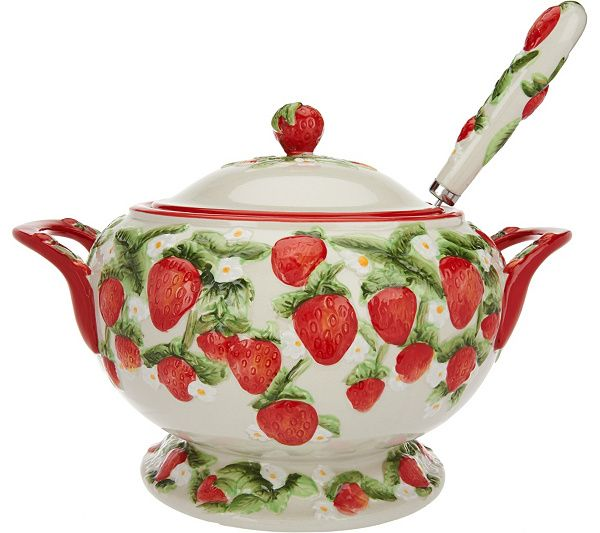 Add a touch of fresh-picked charm to your everyday dining and serving experiences with this Figural Fruit soup tureen by Temp-tations. QVC.com STRAWBERRY