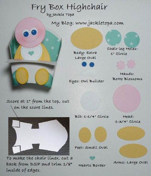 Punch art baby sitting in highchair made with Stampin' Up's Fry Box die