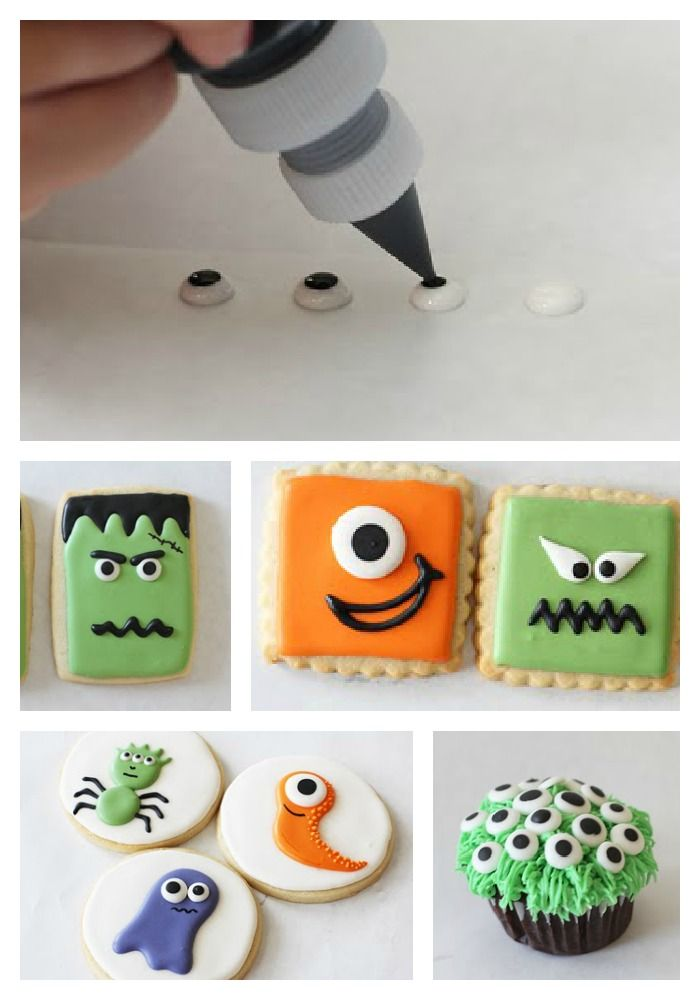 Make your own monster eyeballs with black and white icing. Super cute Halloween cookies