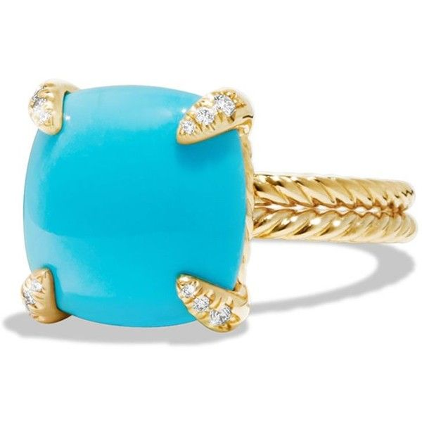 David Yurman Chatelaine Ring with Turquoise and Diamonds in 18K Gold ($2,750) ❤ liked on Polyvore featuring jewelry, rings, gold jewelry, turquoise diamond ring, green turquoise ring, yellow gold rings and turquoise jewelry