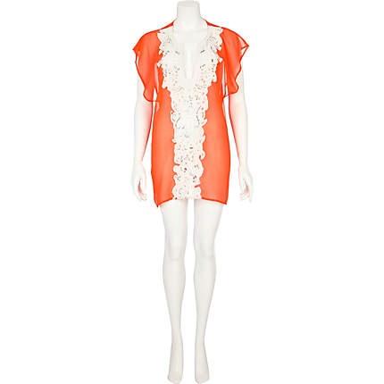 bright orange pacha beaded kaftan - pacha - swimwear / beachwear - women - River Island 50 euros