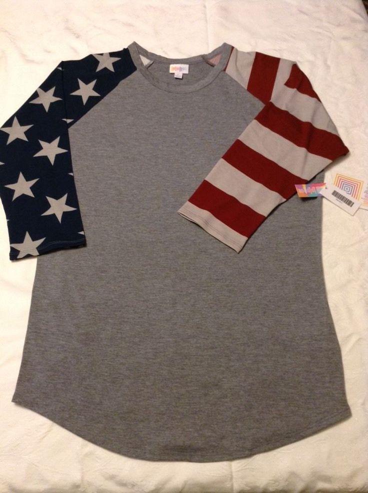 Lularoe American Flag Randy Tee Size Large Americana Unicorn NWT Fourth Of July…
