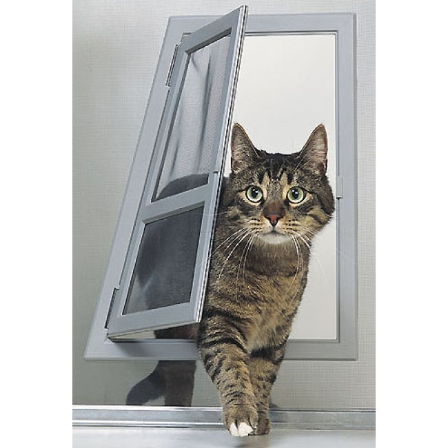 Specially designed for screen doors and windows the Perfect Pet by Ideal Pet Passage Cat Door allows cats to come and go as they please without letting ...