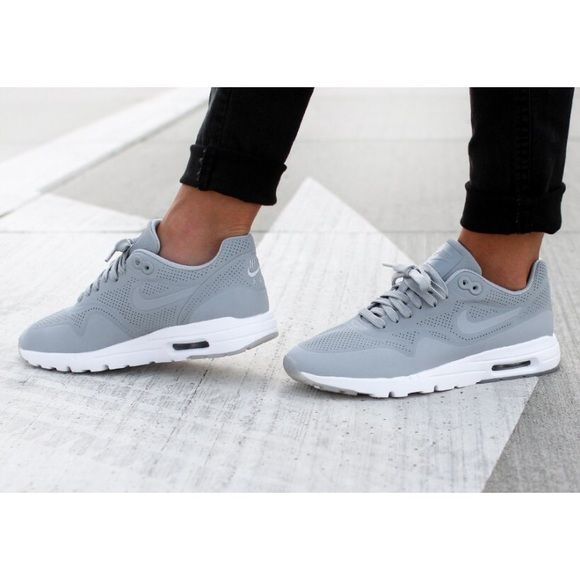 Nike Ultra Moire Wolf Grey Sneakers •The Nike Air Max 1 Ultra Moire has a minimalist upper and a slimmed-down outsole.  Incredibly light, flexible and comfortable.  •Women's size 7, true to size.  •New in box (no lid). NO TRADES/PAYPAL. Nike Shoes Sneakers