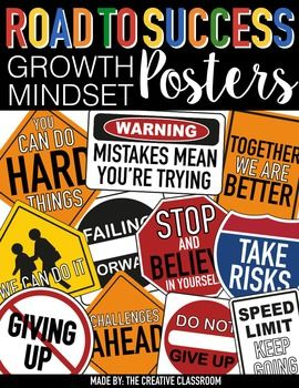 Growth Mindset PostersYour students will be on the ROAD TO SUCCESS with these positive GROWTH MINDSET posters. These 11 posters come with directions for poster printing and assembling for larger size posters. Posters come in a PDF file and png image files for each poster.Grab the entire BUNDLE SET that includes 3 great classroom decor sets that will create the best construction theme classroom for any grade level for one discounted price.Connect with…