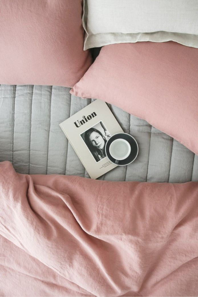 The perfect pink winter bed linens and pillows. @thecoveteur