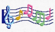 cross stitch pattern Music Staff