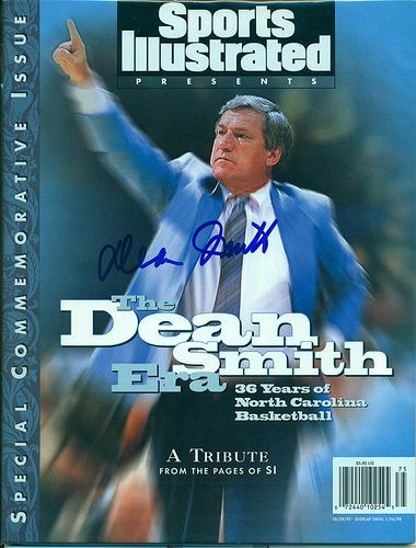 Autographed Special Commemorative Edition Sports Illustrated by Dean Smith, 36 Years of North Carolina Basketball