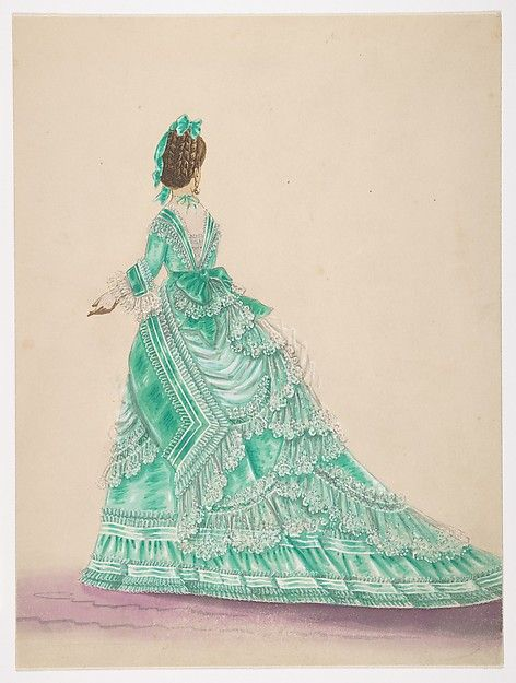 Anonymous, French, 19th century | Fashion Study: Woman in a Green Dress | The Metropolitan Museum of Art. Women wearing a dress with a bustle underneath.