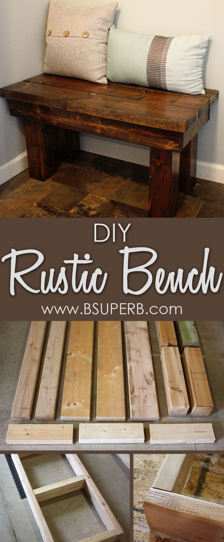 DIY Rustic Bench made from reclaimed wood                                                                                                                                                                                 More