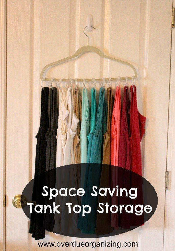 Space Saving Tank Top Storage {OverdueOrganizing.com}