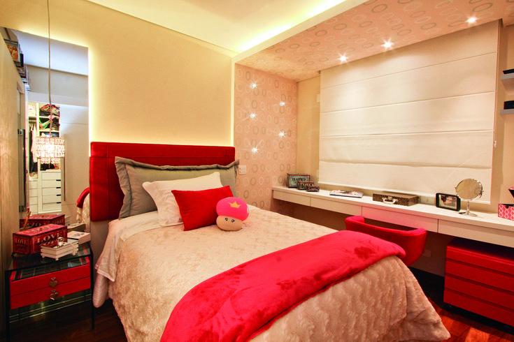 quarto menina, dormitório, vermelho, decoração menina, decoração quarto adolescente. Projeto de Arquiteta Cristiane Vassoler