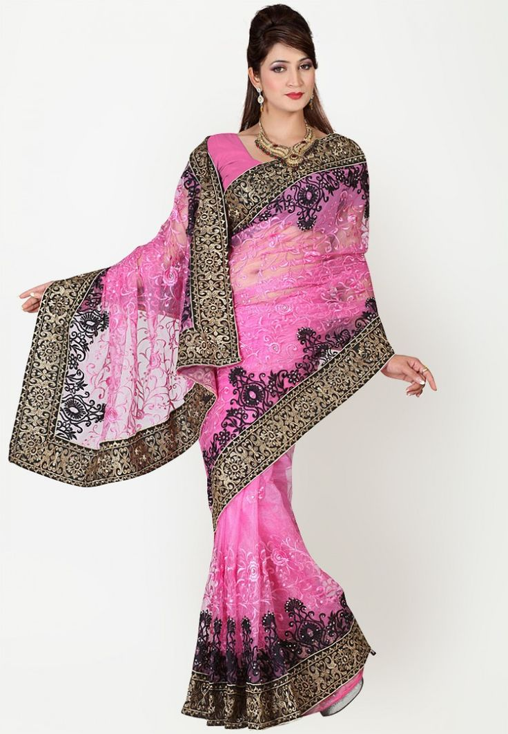 Pink Embroidered Saree at $87.40 (24% OFF)