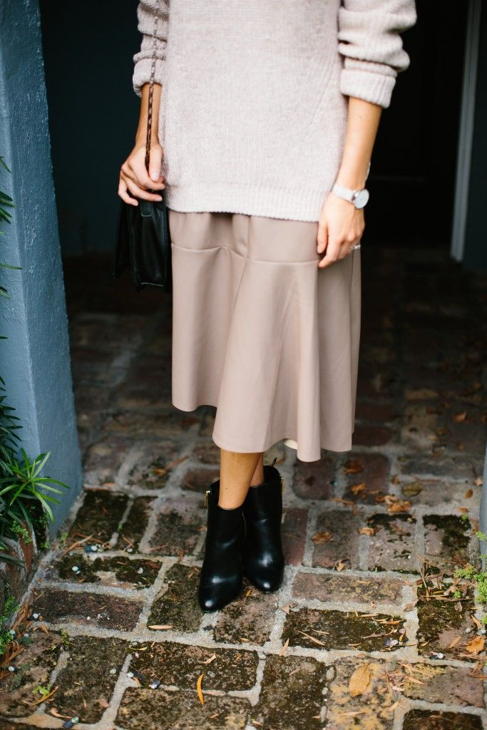 Witching Hour with Nordstrom Rack leather midi skirt, ankle boots and sweater Fall 2015 // Charleston Blogger Dannon Like The Yogurt