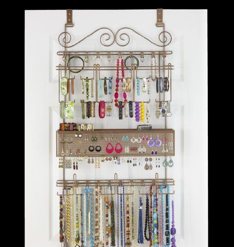 Overdoor/Wall Jewelry Organizer in Bronze by Longstem - Unique patented product - Rated Best $59.99