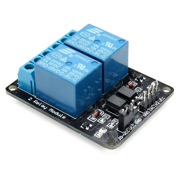 2 Way Relay Module With Optocoupler Protection Feature:  The relay contact capacity 250V 10A Relay outputs normally open, normally closed  Active low 5V relay signal input voltage range: 0-5V  VCC system power JD-VCC power relay Default 5V relay JD-VCC and VCC shorted on it Package...