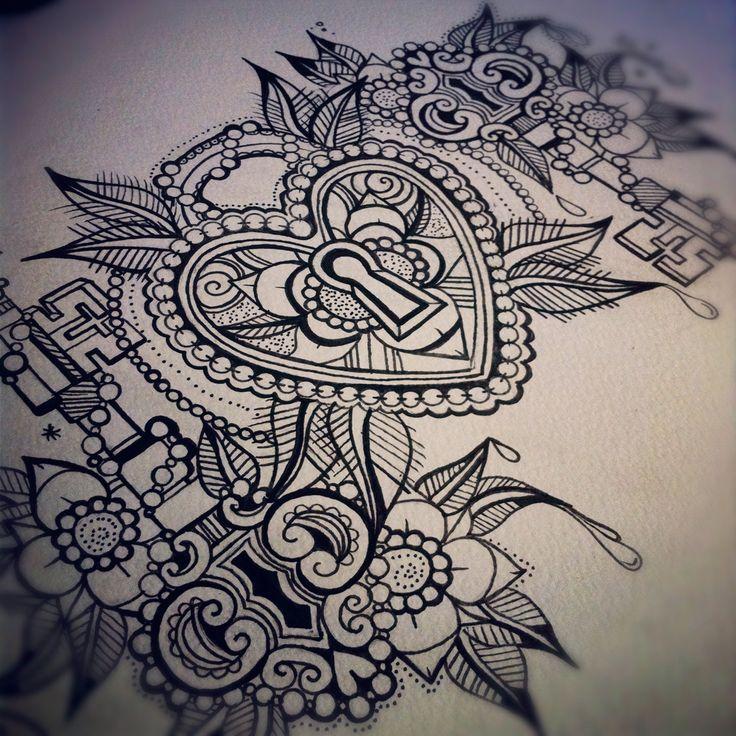 Padlock and Keys Tattoo Flash Sheet Thisone