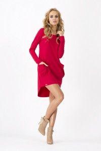 Dresowa sukienka z kieszeniami - M159 - czerwona