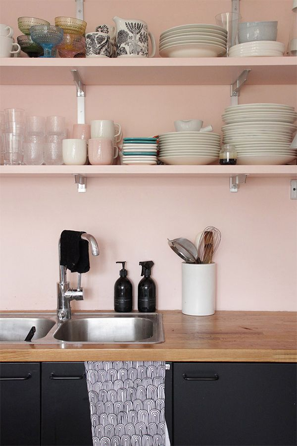 Photo by Frida Eklund Edman for IKEA Livet Hemma As much as I love pink, it's a tough color to get right in a kitchen. You have to hit the shade exactly right, or else you wind up with something resembling a Barbie Dream House. Done right, though, and a pink kitchen can look really fresh and not cloying at all. The kitchen above (in the home of Frida Eklund Edman, as featured on IKEA's Livet Hemma blog) is a perfect example. That super-soft, slightly peachy pink paired with worn woods, rich…