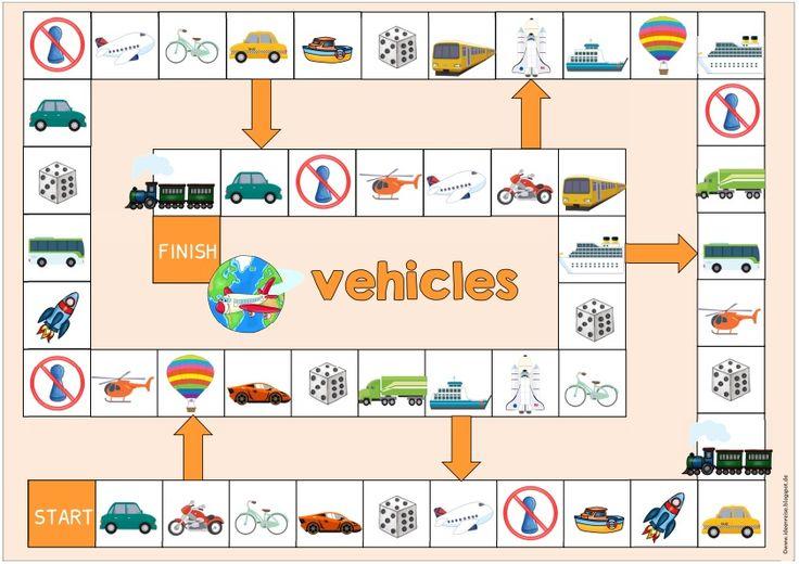"""Spielfeld """"vehicles"""" Als Ergänzung zum gestrigen vehicles-Material gibt es heute noch das passende Spielfeld . Eine kleine Erklärung ist ..."""