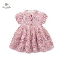 DB3279 dave bella bebê verão vestido de princesa do bebê da menina do estilo do vintage retro vestido de aniversário dos miúdos roupas vestido crianças trajes(China (Mainland))