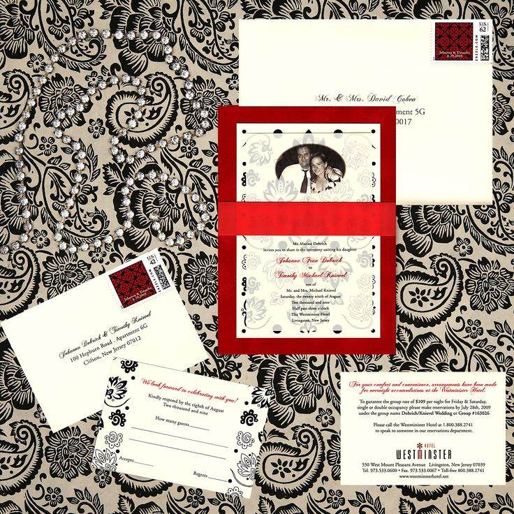 three layer wedding invitation red velvet paper