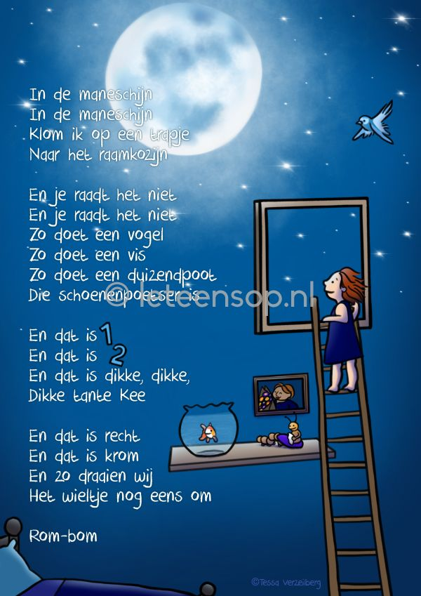 In de maneschijn poster kinderliedje kinderkamer kinderliedjes Nursery rhyme art illustration
