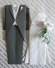 How to make wedding theme origami. Make an origami wedding dress, origami tuxedo jacket, origami tuxedo pants or origami wedding swans. Diagrams...