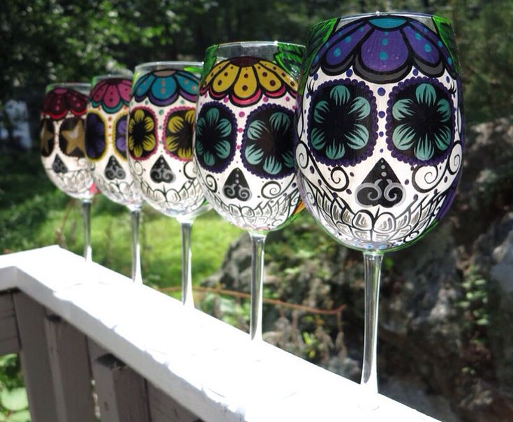 Sugar Skull Wine Glasses