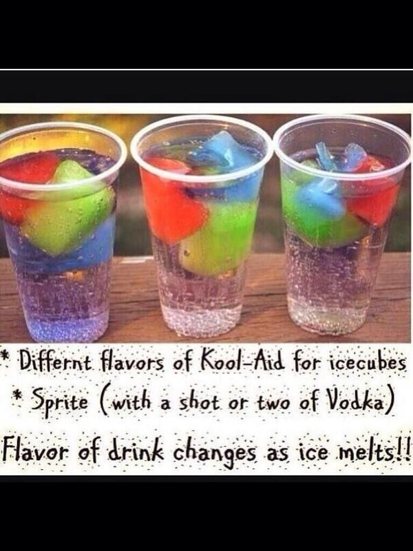 I could make colorful ice cubes to put in clear liquor drinks for the wedding. They would be pretty as they melt.