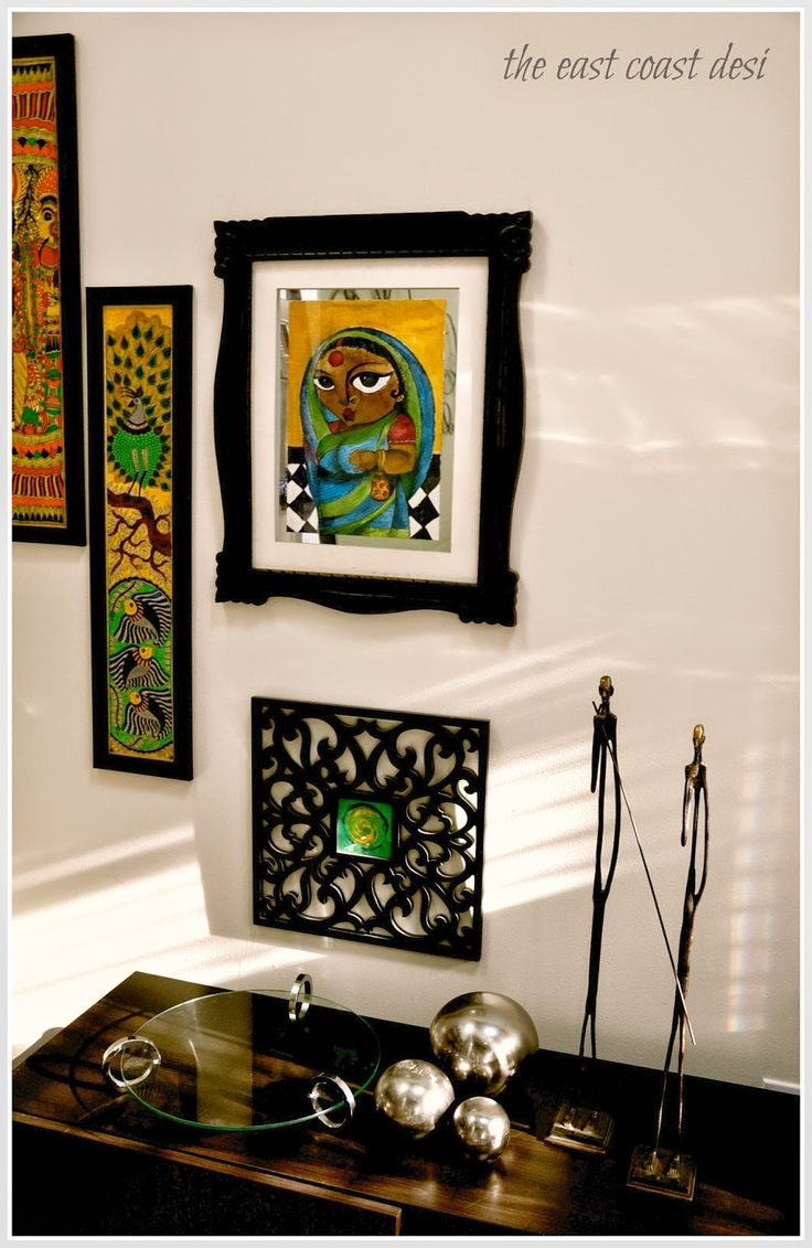 Madhubhani wall art and a pretty vignette