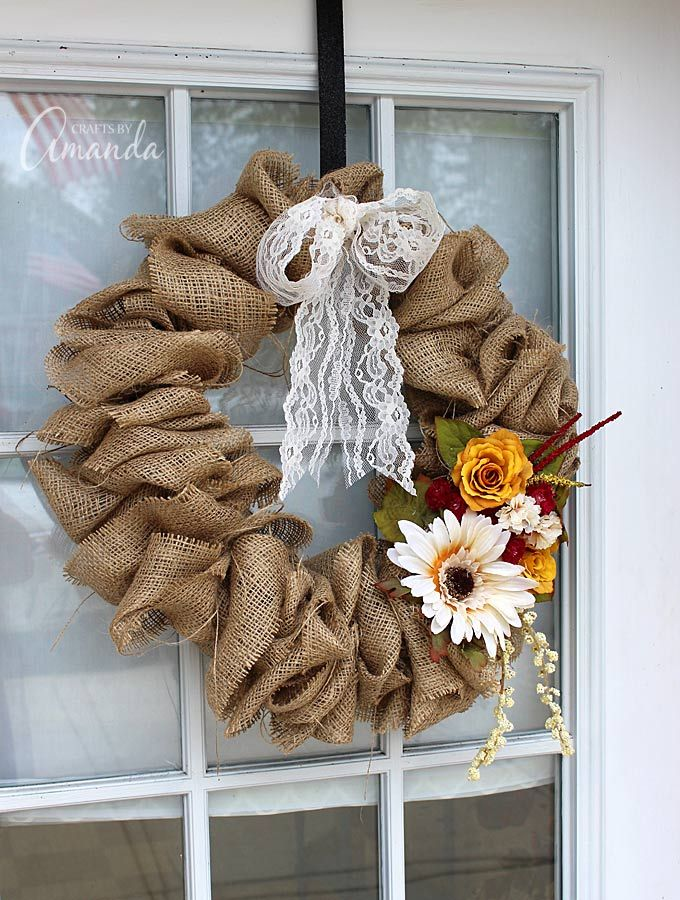 How to Make a Burlap Wreath Using a Coat Hanger, Amanda Formaro of Crafts by Amanda