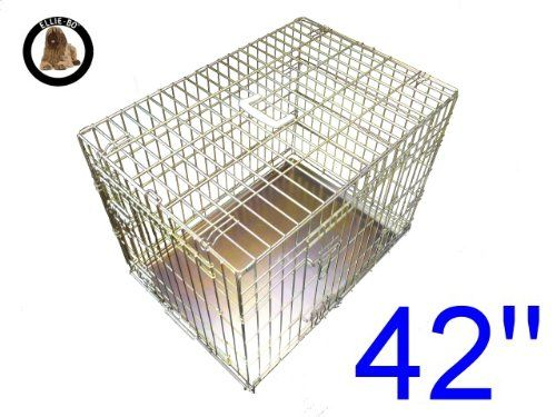From 35.54 Ellie-bo Dog Puppy Cage Folding 2 Door Crate With Non-chew Metal Tray Extra Large 42-inch Gold