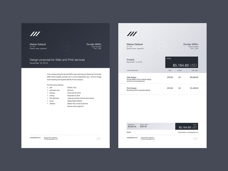 Letterhead and Invoice layout design by Matias Gallipoli