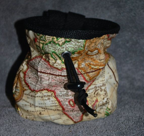 Handmade Rock Climbing Chalk Bag. For the adventurous.    Lightweight and versatile. Perfect with the aged map fabric. Better if its a French map.