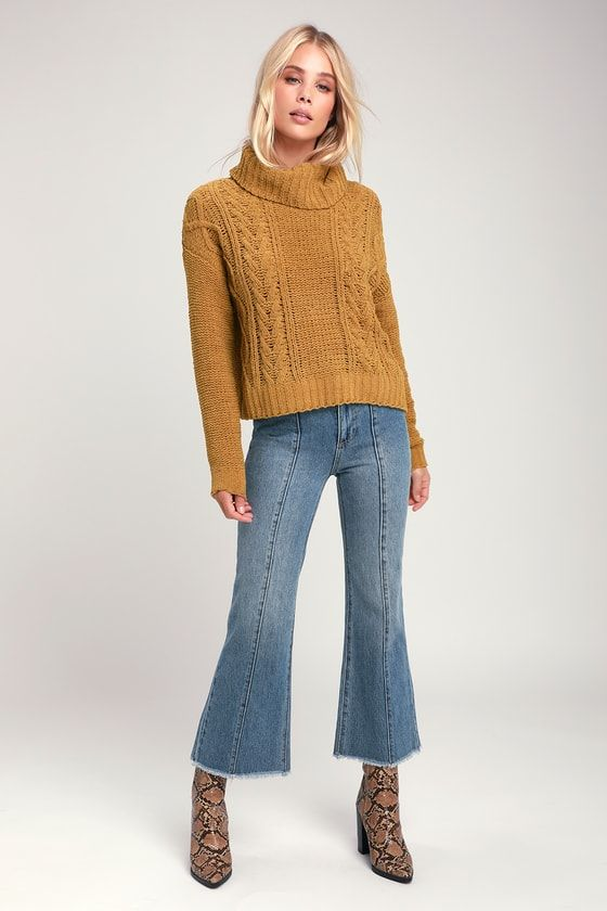 On A Roll Mustard Yellow Chenille Turtleneck Sweater In 2018 Fw 18