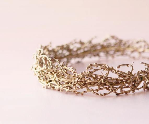 Gilded twig crown GOLD or SILVER Golden bridal headpiece