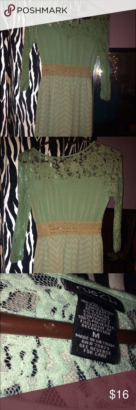 Mint green chevron dress from rue 21 Mint green chevron dress from rue 21 size medium but fits more like a Xs worn once Rue 21 Dresses Midi